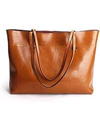 b3cb8e01c0717 Ruiatoo Damen Leder Handtasche mit schmalen Trageriemen als Schultertasche