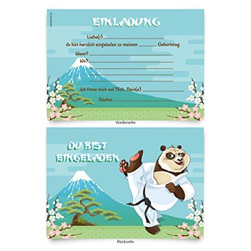 """Einladungskarten (8 Stück) zum Ausfüllen für Kindergeburtstag - """"Karate"""""""