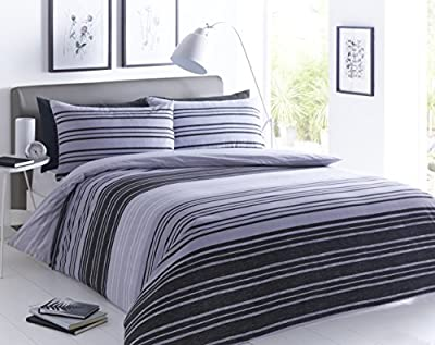Pieridae Textured Stripe Black Grey Complete Duvet Cover & Pillowcase & Fitted Sheet Set Bedding Quilt Case Single Double King Superking - cheap UK light shop.