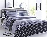 Juego de ropa de cama, con diseño de rayas negras y grises...