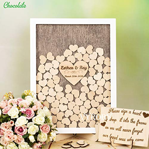 JeremyHar75 Alternative Hochzeits-Gästebuch Ideen Hochzeit Gästebuch Hochzeit Signierbuch Custom Gästebuch Holz Hochzeit Herz Drop Box in weißem Rahmen