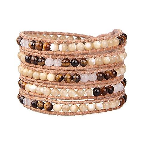 KELITCH Nacre & Œil De Tigre Petit Perles Multicouche Bracelets Fait Main Naturel Cuir Bijou Neuf