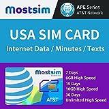 Most SIM Prepaid SIM-Karte USA at&T Netz 4G LTE - 6 GB Internet-Daten & Anrufe und SMS - 7 Tage