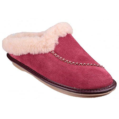 Cotswold Ladies Finstock Faux Fur Collar Cozy Bootie Slipper Red Burgundy
