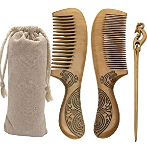 Peach Wood Hair Combs -Wide & Standard Tooth with Double-Sided Carved Hair Accessories -Anti-Static by nature -Ergonomic Handle Design Perfect for Men and Women's -Bonus a Wooden Hair Stick Pin