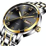 Herren Uhren Luxus Marke LIGE Mode Analoge Quarzuhr Männer aus Edelstahl Wasserdicht Business Casual Armbanduhr Mann Datum Gold Schwarz Uhr