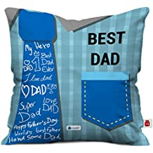 Indigifts Fathers Day Gifts from Daughter Best Dad Quote Blue Cushion Cover 12x12 inches with Filler - Birthday Gift for Papa-Dad-Father in Law-Grandfather, Parents Anniversary Gifts, Daddy Pillow