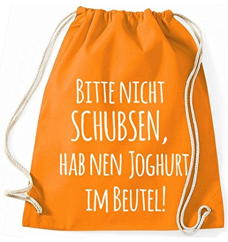 Jutebeutel Turnbeutel Sportbeutel Stofftasche Baumwolltasche Tasche Rucksack Gymsack Bitte nicht schubsen, hab nen Joghurt im Beutel! (Navy) Orange