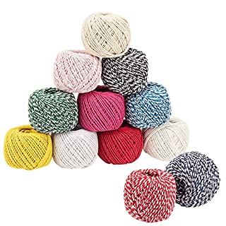 Anphsin Cotton Cord, Cotton String in Various Colours, Cotton Rope for DIY Jewellery, Handicrafts, Packaging, Decorating, Crafting, Binding, DIY etc