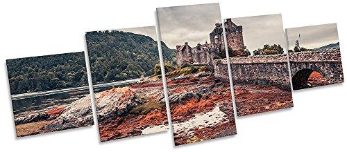 Eilean Donan Castle (Eilean Donan Castle Castle Highlands Multi Leinwand Wand Art Box Rahmen Bild Print, 200cm wide x 80cm high)