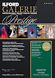 Ilford 2001731.0 Prestige Smooth Gloss Paper, 310g, 100 Blatt, 13 X 18 Cm