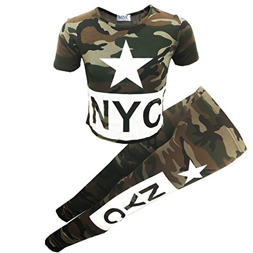 GUBA® Girls Camouflage Star NYC Crop Top & Bottom 2PC Set Kids Fashion Outfits Age 7-13 Years