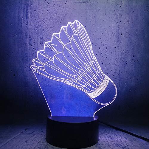 Das Badminton-Styling 3D schiebt 7 Arten verfärbte Acryl-LED-Nachtlichter, Note und Fernbedienung, coole Spielzeuggeschenke, Geburtstag, Feiertag, Weihnachten