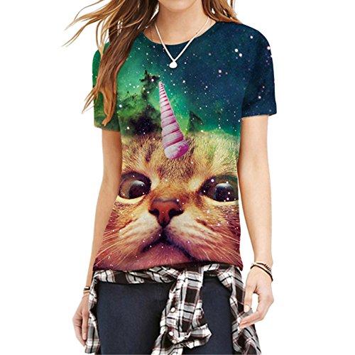 Hübsche Mädchen Sympathisch Raum Katze T Shirt Grün Galaxy Grafik Frauen T-Shirt XL (Hallo Für Mädchen Kitty)