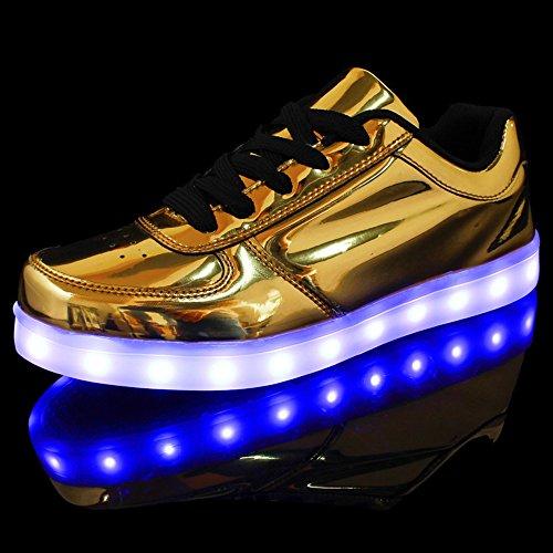 DoGeek Adulto Unisex Scarpe Led Luminosi Sneakers Con Le Luci Accendono Scarpe Sportive Oro