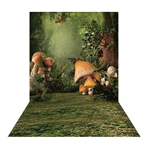 sy Cartoon Märchen Forest Fotografie Hintergrund Blumen Gras Baum Mushroom Bird Hintergrund Hintergrund für Kinder Arbeiten Raum Requisiten xt-4766 (Gras Fotografie-hintergrund)