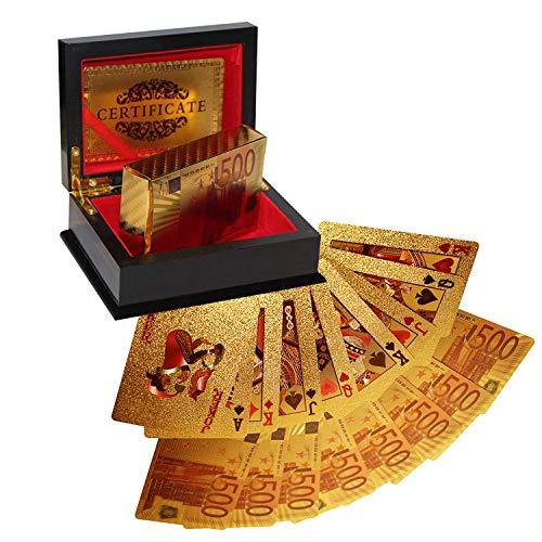 Kurtzy Carte da Gioco Poker Mazzo 54 Carte Poker Design Euro Oro in Scatola Regalo