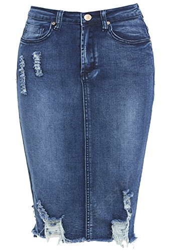 SS7 New Women's Denim Distressed Stretch Skirt, Sizes 6-14