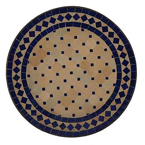 Casa Moro Mediterraner Gartentisch marokkanischer Mosaiktisch Ø 45 cm rund blau terrakotta mit Gestell H 55 cm Kunsthandwerk aus Marrakesch Handmade Bistrotisch Mosaik-Kunst Balkontisch   MT2994 -