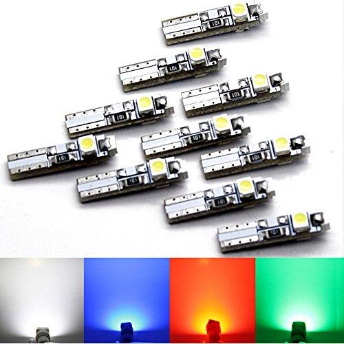 Lot de 10 ampoules sMD lED t5 tachobeleuchtung - 3 lED sMD-blanc/rouge/bleu w1.2W w2.3W/vert - 3 x 3528 sMD- intérieur éclairage intérieur compteur de tableau de bord