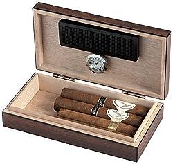 Egoist JK00173 Holz Humidor mit Hygrometer für ca. 5 Zigarren, Zigarren-Zubehör - Braun