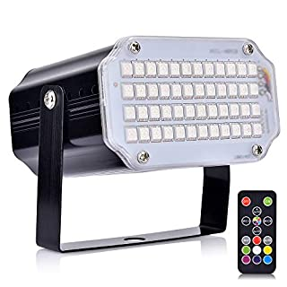 AUSHEN Strobe Lights with Remote Sound Activated Strobe Lights for Parties 48 RGB LED Stage Lighting Mini Stage Lights