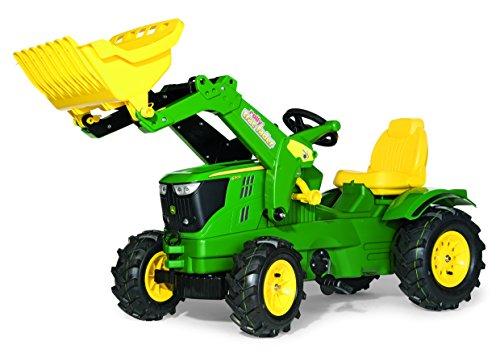 *Rolly Toys 611102 Kindertraktor Farmtrac John Deere 6210 R inklusive Frontlader Trac Lader, mit Kettenantrieb, Luftbereifung, verstellbarem Sitz (für Kinder von 3 – 8 Jahren, TÜV/GS geprüft, Farbe Grün)*