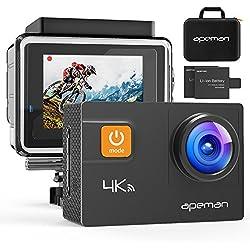 APEMAN A80 Cámara Deportiva 4K Wi-Fi 20MP, Impermeable 30M, Pantalla LCD 2 pulgadas, 170 Gran Angular, negro