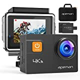 APEMAN Underwater Action Camera 4K Wi-Fi Action Cam 20MP Waterproof 30M 2.0 Inch LCD Screen 170 Wide-Angle Dual 1050mAh Batteries with Portable Package Waterproof Case and Kit of Accessories