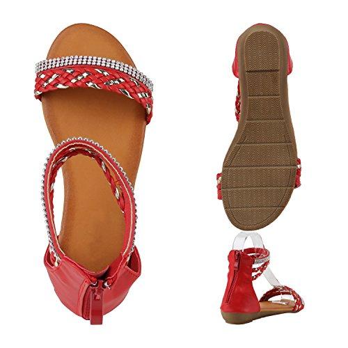 Bequeme Damen Keilsandaletten Strass Sandaletten Keilabsatz Rot Flechtung Strass