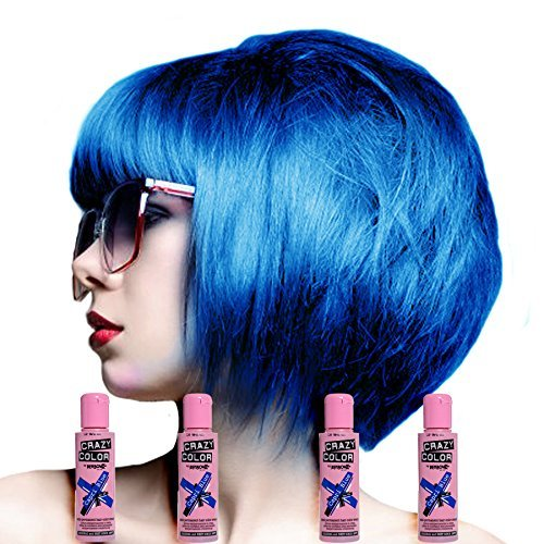 Crazy Color Unisex Semi-Permanent Colour Hair Dye - One Size, Capri Blue by Crazy Color Hair Dye