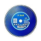 S&R Disco Diamantato 230 x 7.0 x 22,2 Turbo per Cemento armato, Granito, Pietra naturale, Mattoni. Taglio a secco