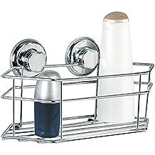 Tatkraft MegaLock Mensola da bagno doccia monopetto 30.5x 15.5x 10.5cm Acciaio Cromato 2viti di aspirazione ø 73mm