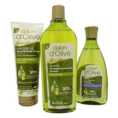 dalan d' Olive 3 tlg Pflegeset Duschgel + Feuchtigkeitscreme + Körperöl