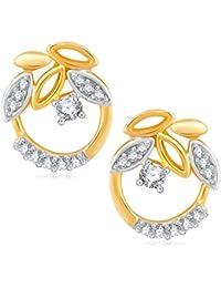 VK Jewels Elegant Gold And Rhodium Plated Alloy Earrings CZ American Diamond Stud Earrings For Women [VKER1687G]