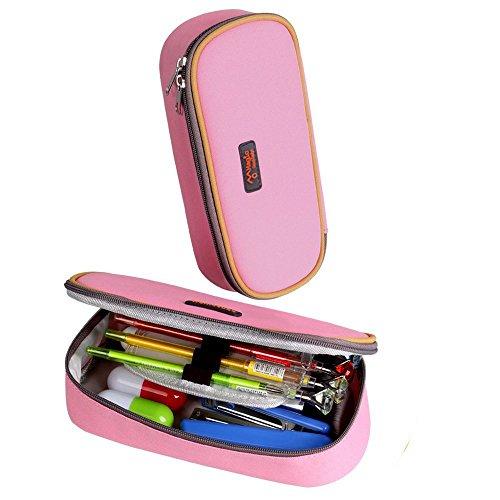 Astuccio portamatite capiente, multistrato portapenne astucci per cancelleria di bambini, colore rosa da pingenaneer