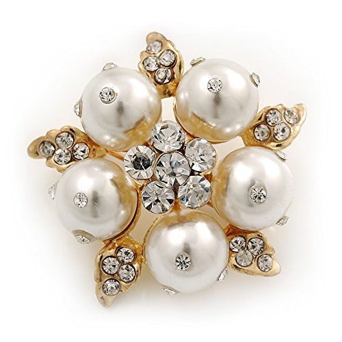 Stunning Bridal Simulated Pearl Crystal Brooch (Snow White & Gold Plated) - 4cm Diameter (White Snow Bridal)