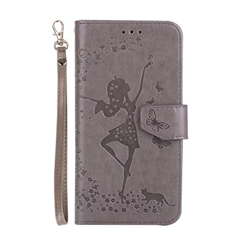 Abnehmbare 2 in 1 Crazy Horse Texture PU Ledertasche, Fairy Girl Embossed Pattern Flip Stand Case Tasche mit Lanyard & Card Cash Slots für Samsung Galaxy S6 Edge ( Color : Rosegold ) Gray