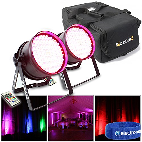 2x Beamz LED Par Lights RGB Uplighters DJ Light Stage Lighting Inc Carry Case