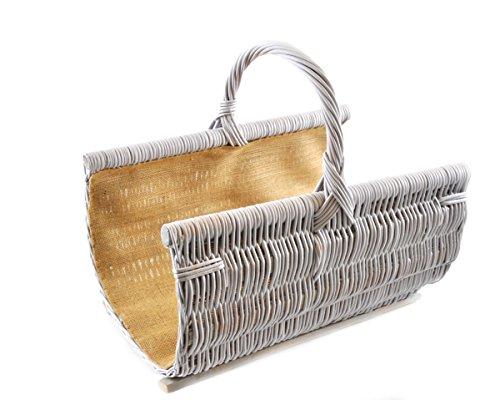 Panier à bûches rotin panier en osier Panier de transport robuste pour bois renforcé avec doublure en jute tressé K12-453 _ 1 _ K _ w