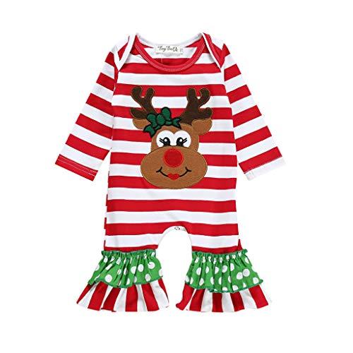 Baby Langarm Streifen Cartoon Elch Weihnachten Spitze Klettern One Piece Kleidung Mimicy Baby Jungen Mädchen Säugling Striped Christmas Deer Romper Overall Outfits Kleidung One Piece Romper Outfit