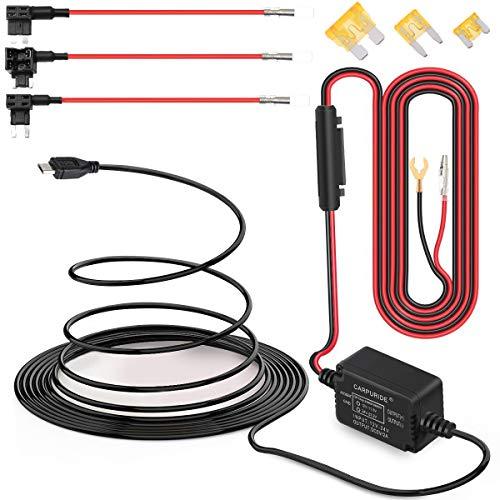 Dash Cam Hardwire Kit, Micro USB-Anschluss, DC 12V - 24V, 5V/2A Max Auto Ladegerät Kabelsatz mit Sicherung, Low Voltage Schutz für Dash Cam Kameras (Micro USB und Fuse Kit) Mini Usb-kabel Kit