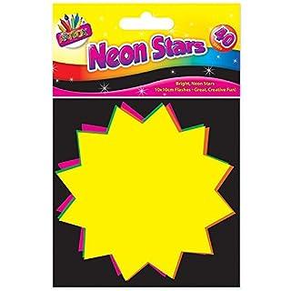Artbox 10x10cm, 15x10cm, 7.5x7.5cm Fluorescent Stars (Pk of 40) (10x10cm)