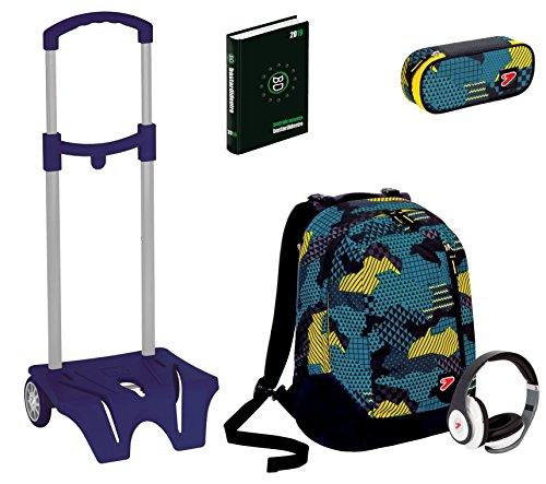 Kit scuola zaino + easy trolley + portapenne + diario seven - the double camouflage blu - cuffie stereo con grafica abbinata incluse! 2 zaini in 1 reversibile