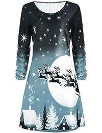 KOLY Donna Natale Stampa Vestito a Manica Lunga Partito di Sera Abito a  Ginocchio Felpa Camicia Vestito Vestito da… 7576919adcdd