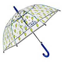 Transparent Reflective Umbrella for Kids with Blue Yellow Lightning - Stick Clear Robust Dome Umbrella for Boys - Windproof Brolly - Automatic Opening - Children 5/7 Years Old - Diam 74 cm - Perletti