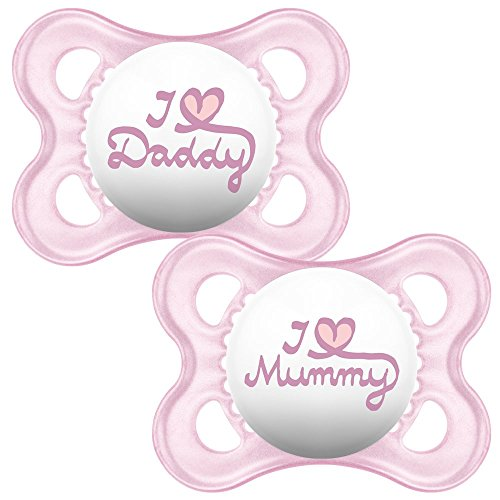 MAM Original 9001616890529 Succhietti con custodia da viaggio sterilizzabile, Set di 2 pezzi, I love Mummy/Daddy, Rosa, 0+ mesi