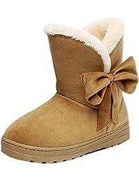 Mujer Zapatos Plano Invierno Botas Calentar Medio Becerro Botas Al aire libre Zapatos Pelaje Forrado Botas Yying