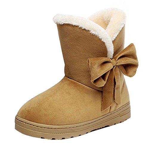 Hibote Stivali da Neve Donne Pelliccia Allineato Inverno Caloroso Neve  Inverno Piatto Stivaletti Boots Scarpe da Donna 85d565eaddb