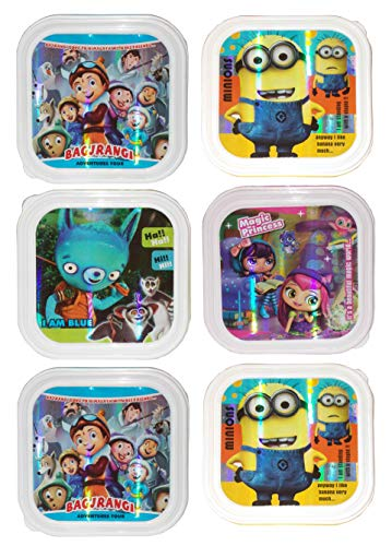 Kotak Sales Kids Children Fun Food Cartoon Print Lunchbox 1 Compartment with 2in1 Spoon Fork Return Gifts for Kids Birthday Party (Set of 06 Pcs)